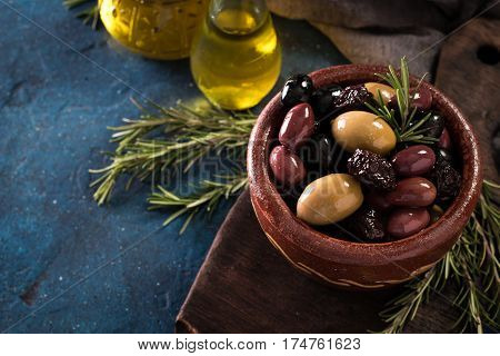Bowls With Different Kind Of Olives Green Olives, Black Olives, Kalamata Olives On Table
