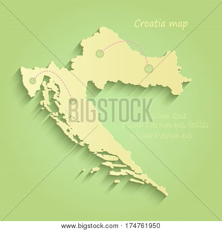 Croatia map green yellow vector template outline