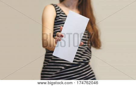 Girl Showing Aslant Blank White Flyer Brochure Booklet. Leaflet Presentation. Pamphlet Hold Hands. W