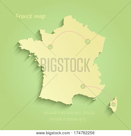 France map green yellow vector template outline