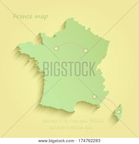 France map yellow green vector template outline