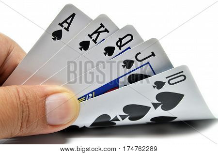 Royal flush of spade on white background poster