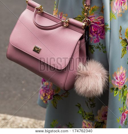 MILAN ITALY - FEBRUARY 24: Detail of bag outside Etro fashion show during Milan Women's Fashion Week on FEBRUARY 24 2017 in Milan.