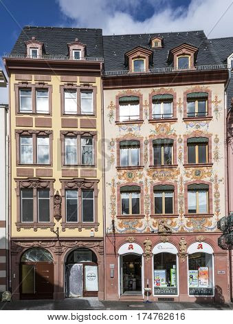Facade Of Old Pharmacy Lions At The Market Place In Mainz