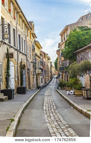 Street With Traditional Facades In Aix En Provence
