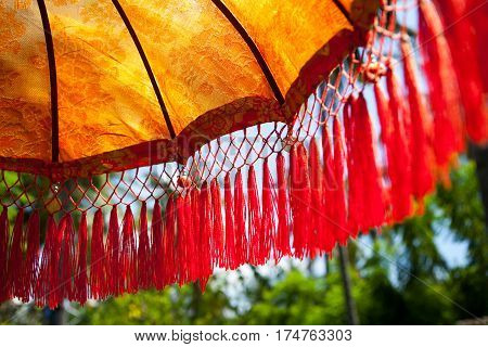 National Indonesian decoration umbrella for ceremonies detail Bali Indonesia