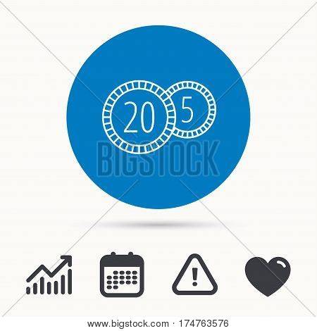 Coins icon. Cash money sign. Bank finance symbol. Twenty and five cents. Calendar, attention sign and growth chart. Button with web icon. Vector