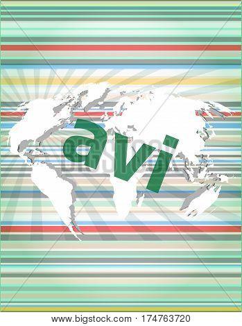 Digital Concept: Avi Word On Digital Screen. Concept Of Citation, Info, Testimonials, Notice, Textbo