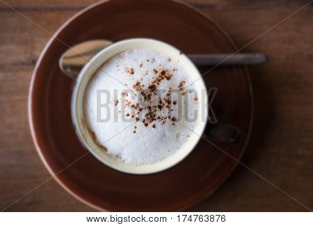 Top view Of Hot Macchiato stock photo
