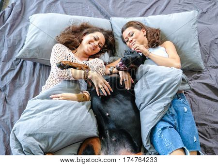 Happy dog owners in bad early morning