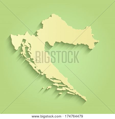 Croatia map green yellow template outline raster