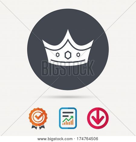 Crown icon. Royal throne leader symbol. Report document, award medal with tick and new tag signs. Colored flat web icons. Vector