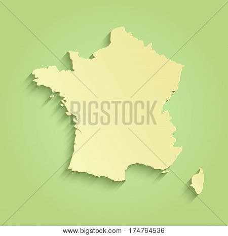 France map green yellow template raster outline