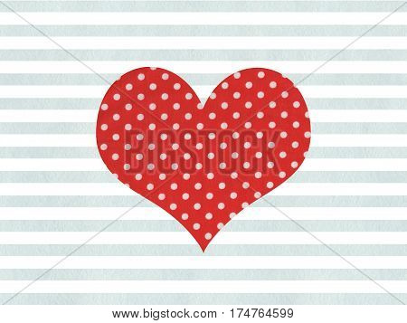 Red Fabric Polka Dot Heart On Watercolor Blue Stripes Background.