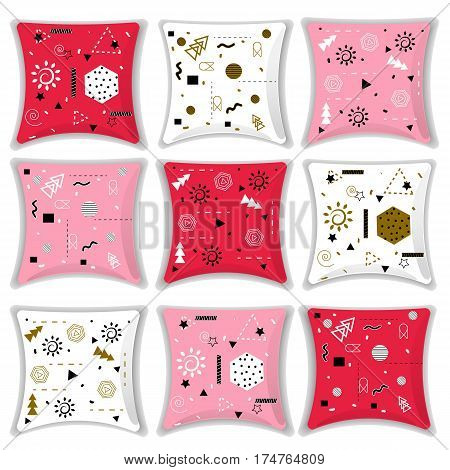 Set of decorative cushions with geometric shapes. Pillow abstraction in different colors. Vector illustration.