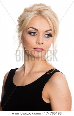 Portrait of a beautiful young blonde in a black dress.  Isolated on white.