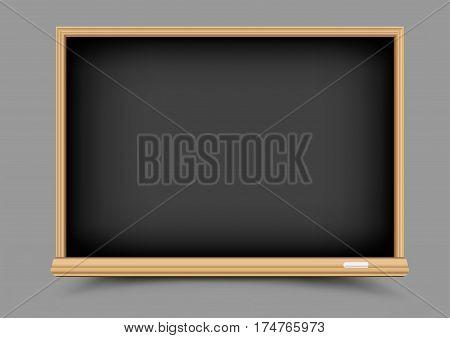 Empty education school black chalkboard with shadow on gray background. Blackboard template for chalk write or draw
