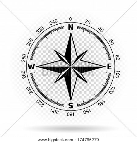Black color stencil compass wind rose on white transparent background with shadow. The dial and the scale shows North South East West directions. Degrees scale with numbers