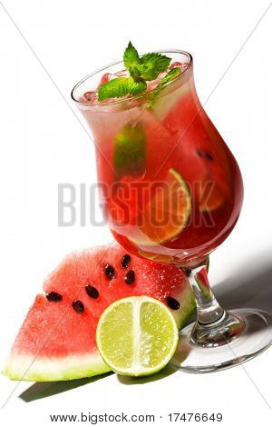 Watermelon Caipirinha - Cocktail with Watermelon, Cachaca, Rum, Sugar and Lime. Isolated on White Background
