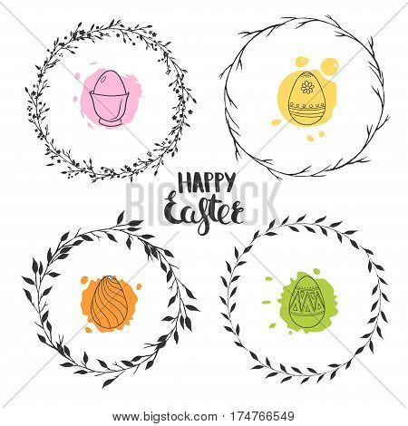 Set of four cute floral wreaths for Easter. Round vector wreaths isolated on white. Ornamental Easter eggs.