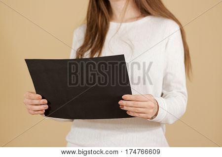 Girl Reading A4 Blank Black Flyer Brochure Booklet. Leaflet Presentation. Pamphlet Hold Hands. Woman