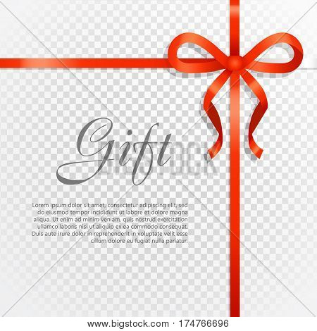 Card vector illustration on transparent background, luxury wide gift bow with red knot or ribbon and space frame for text, gift wrapping template for banner, poster design. Simple cartoon style Flat design