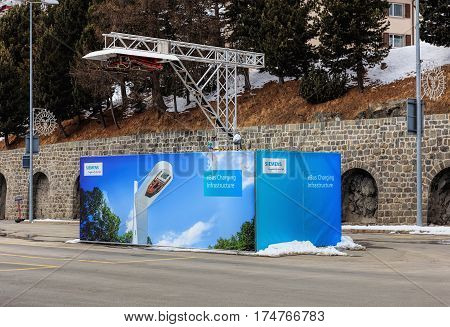 St. Moritz, Switzerland - 3 March, 2017: the quick-charge facility for Volvo 7900 Electric Hybrid buses, which use electrical power from their accumulators in the normal operation mode.