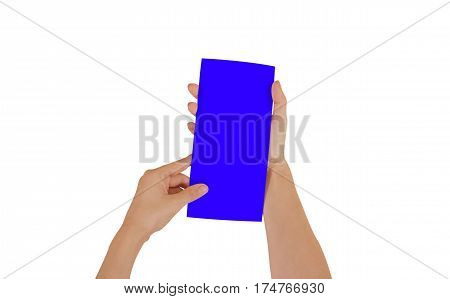 Hands Holding Blank Blue Brochure Booklet In The Hand. Leaflet Presentation. Pamphlet Hand Man. Show