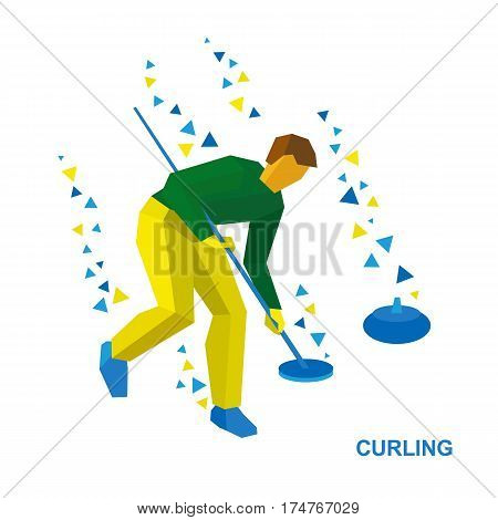 Winter Sports - Curling. Cartoon Player Clear Way To Stone