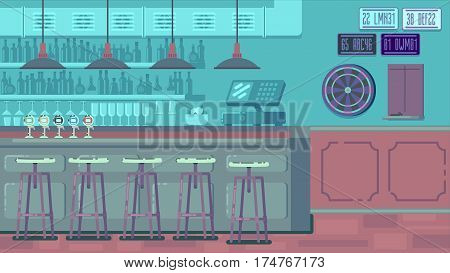 Bar Restaurant with counter in flat style. Vector banner of interior with bar counter, bar chairs and shelves with alcohol.