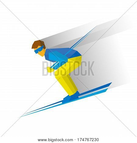 Skiing. Cartoon Skier In Blue And Yellow Running Downhill.