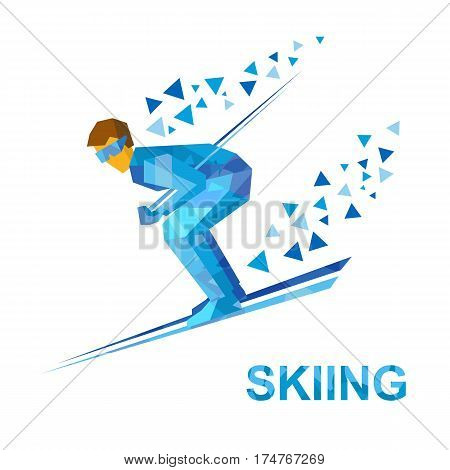 Skiing. Cartoon Skier With Blue Patterns Running Downhill.