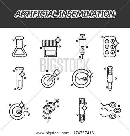 Artificial insemination icon set. Vector illustration, EPS 10