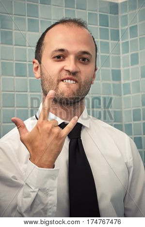 portrait of successful business man in the bath