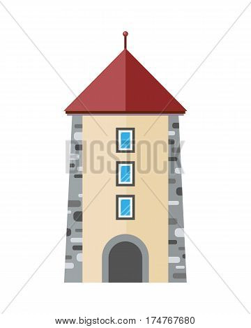 Medieval city tower icon. Ancient stone tower with windows and arch flat vector illustration isolated on white background. European  architecture. Historic building. For travel, touristic concepts
