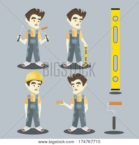 Set of Young builder in overalls. Set of vector flat design illustrations isolated on light background.