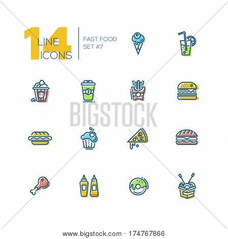 Fast Food Cafe Menu - set of modern vector thick line design icons with accent color. Hot dog, hamburger, french fries, sandwich, pizza, ice cream, soda, muffin, bakon, ketchup, mustard, pop corn, donut, chicken roll-up sandwich coffee wok