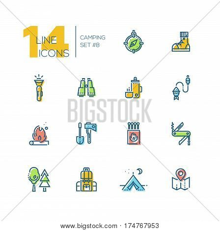 Camping and Hiking - modern vector thick line design icons set with accent color. Compass, boots, flashlight, binocular, thermos, fishing, fire, spade, axe, matches pocket knife trees backpack tent map. Material design concept symbols