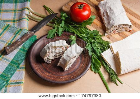 Two Pieces Of Pita Bread Or Lavash Roll With Cottage Cheese Or Curd, Chicken, Tomatoes And Herbs - D