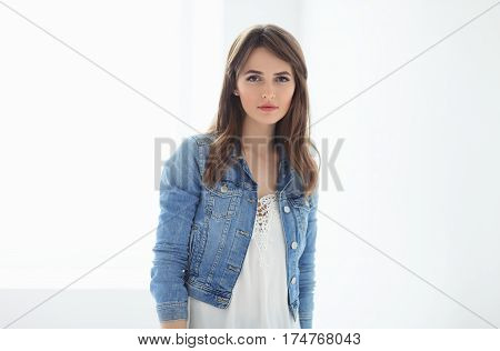 Confident Beautiful Woman On White Background