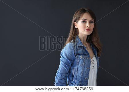 Beautiful Sensual Woman Portrait On Dark Background