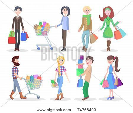 Shopping people vector illustrations set. Buying gifts on holidays flat concepts isolated on white background. Happy young man and woman characters with gifts, shopping bags and trolleys full of goods