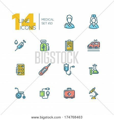 Medical Equipment - modern vector thick line design icons set with accent color. Male, female doctor, ambulance, medicine, syringe, record, pills, thermometer, drip chamber, test tube, wheelchair, blood pressure meter first aid kit microscope