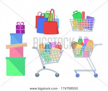 Set of shopping icons in flat design. Supermarket trolley with goods, shopping bags and gift boxes vector illustrations isolated on white background. For e-commerce and online shopping apps