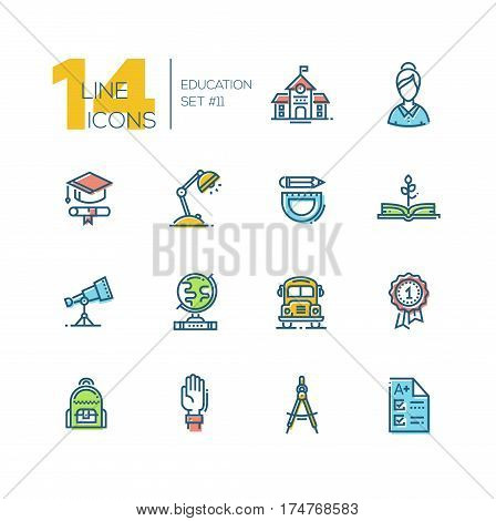 School and education - modern vector thick line design icons set with accent color. School building, female teacher, graduation cap, certificate, lamp, bus, book, telescope, globe, stationery, badge hand backpack compasses test