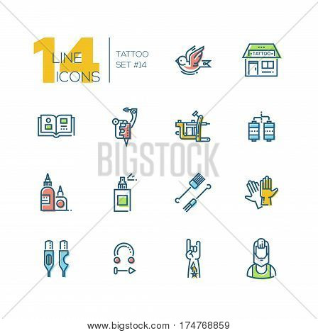 Tattoo Studio - modern vector line design icons set with accent color. Bird, storefront, sample book, tattoo machine, coils, ink, spray, needles, gloves, cartridges, piercing, hand, artist