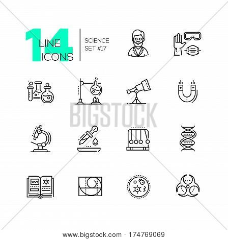 Science - vector modern single line icons set. Scientist, glove, glasses, respirator, flask, telescope, magnet, microscope, pipette, pendulum, dna, book, spiral, microorganism, biohazard