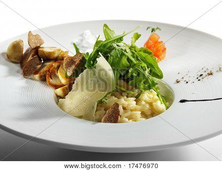 Risotto with Rucola, Tartufo Bianco (White Truffle) and Porcini and Tomato