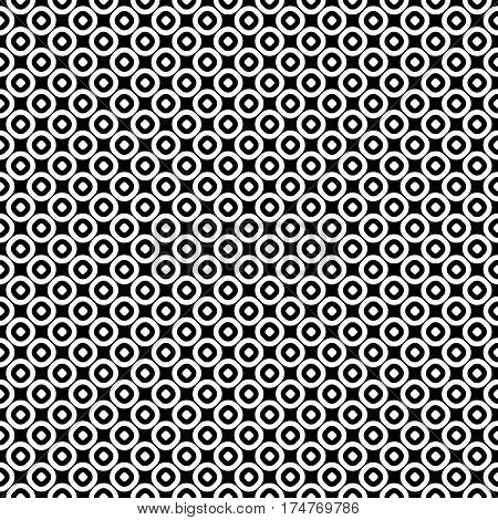 Vector seamless pattern, monochrome polka dot texture. Simple geometric background with staggered perforated circles. Black & white abstract contrast design for prints, decoration, textile, wrapping, cloth