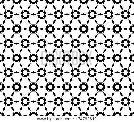 Vector monochrome texture, simple geometric seamless pattern. Symmetric hexagonal grid, perforated hexagons, rhombuses. Abstract black & white background. Design for prints, decoration, textile, fabric, cloth